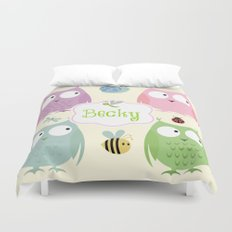 Owl Friends Pink Personalized -small label pattern Duvet Cover