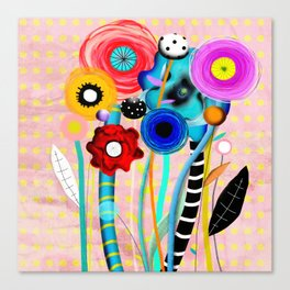 Yellow Polka Dots Floral Bouquet Canvas Print