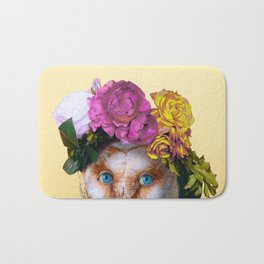 Lady Owl with Head Flowers Bouquet Bath Mat