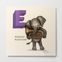 Animals & Instruments ABCs – E Metal Print
