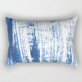 Steel blue streaked watercolor pattern Rectangular Pillow