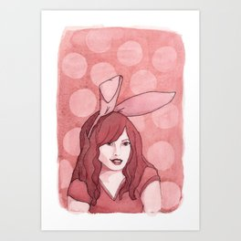 Polka Dot Bunny Art Print