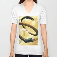 dragon V-neck T-shirts featuring Dragon by nicky2342