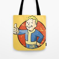 fallout Tote Bags featuring Fallout Vault boy by Krakenspirit