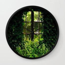 Green idyllic overgrown cottage garden window Wall Clock