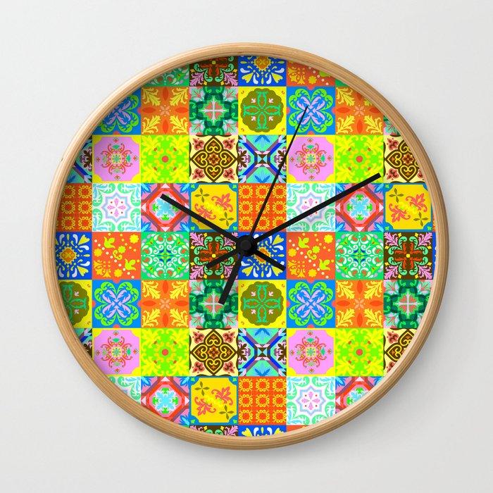 Bohemian Jungle Quilt Tiles 3 Wall Clock