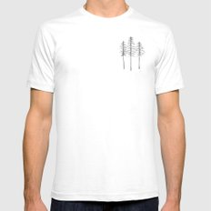 Pine Trees Pen and Ink Illustration SMALL White Mens Fitted Tee