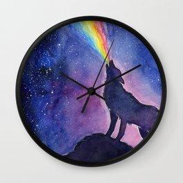 Galaxy Wolf Howling Rainbow Wall Clock