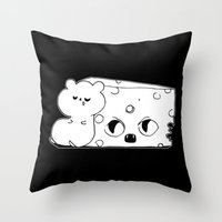 rat Throw Pillows featuring ▴ rat ▴ by PIXIE ❤︎ PUNK