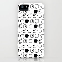 Black and white sheeps iPhone Case