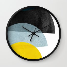 Mid Century Orange Yellow & Blue Wall Clock