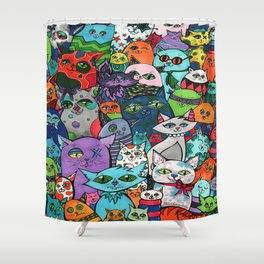 Crazy Cats Color  Shower Curtain