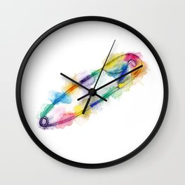 Rainbow Safety Pin Wall Clock