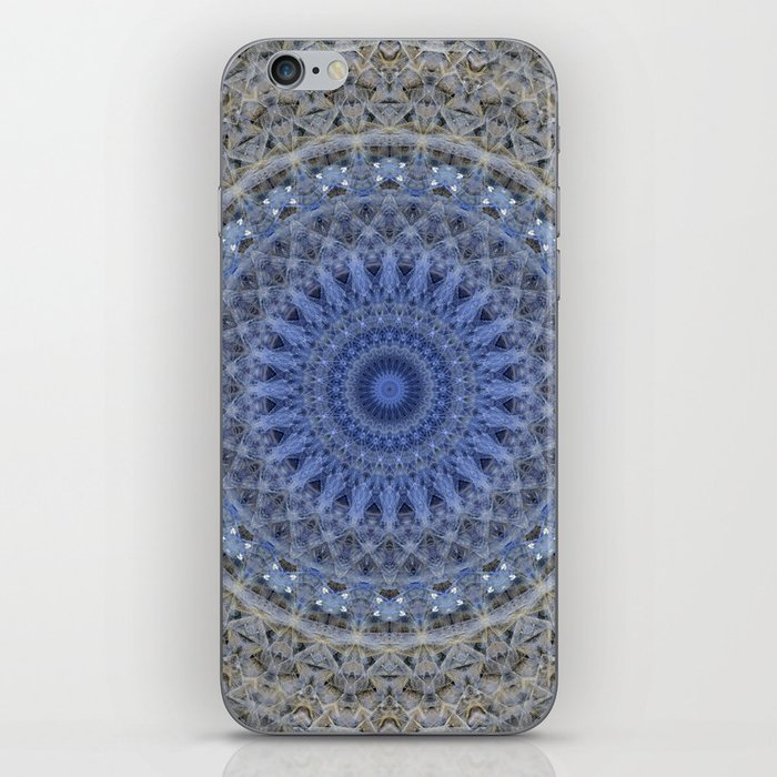 Gray and blue mandala iPhone Skin