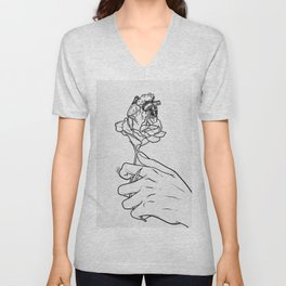 Flowery heart given. Unisex V-Neck