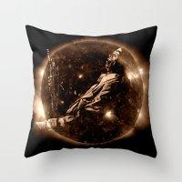 miles davis Throw Pillows featuring Miles Davis - Jazz´n away by ARTito