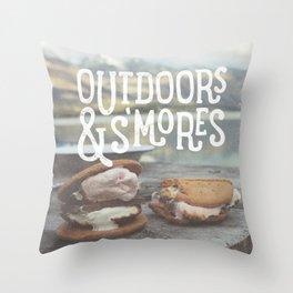 outdoors & S'mores Throw Pillow