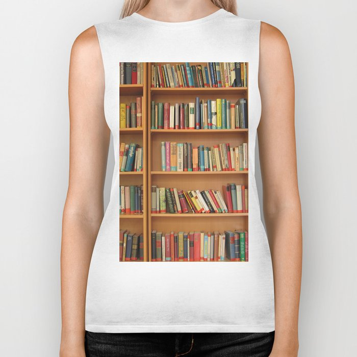 Bookshelf Books Library Bookworm Reading Biker Tank