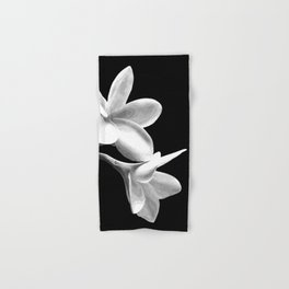 White Flowers Black Background Hand & Bath Towel
