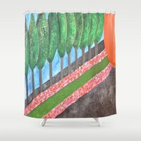 religious Shower Curtains featuring Ten Religious Abstract Art By Saribelle Rodriguez by Saribelle Inspirational Art