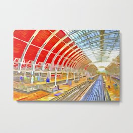 Paddington Railway Station Pop Art Metal Print