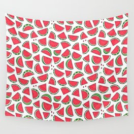 Watermelon World! Kawaii Watermelon Doodle Wall Tapestry