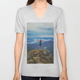 Young woman  on a stone   with raised hands,Carpathian ,Ukraine Unisex V-Neck