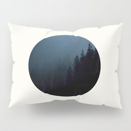 Mid Century Modern Round Circle Photo Graphic Design Navy Blue Pine Forest Trees Silhouette Pillow Sham