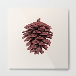 Red Pine Cone Metal Print