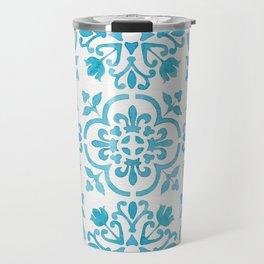 Watercolor Moroccan Tiles - Turquoise Blue Travel Mug