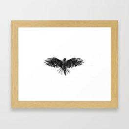 Black Bird White Sky Framed Art Print