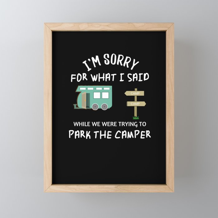 Funny RV Camping design - Happy Camper Humor Framed Mini Art Print by  dnhthreads