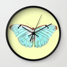 Mint Butterfly on A Ray of Sunshine Wall Clock