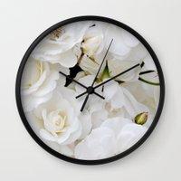 snow white Wall Clocks featuring Snow White by Ez Pudewa