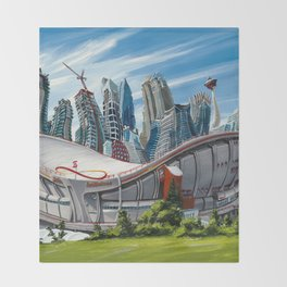 Downtown Calgary Skyline Throw Blanket