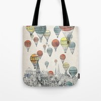 red Tote Bags featuring Voyages over Edinburgh by David Fleck