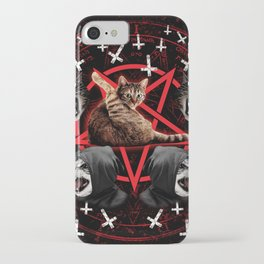 satanic cat pentagram death black metal band exorcist iPhone Case