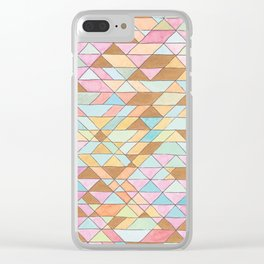 Triangle Pattern No. 25 Gold Pink Turqouise Clear iPhone Case
