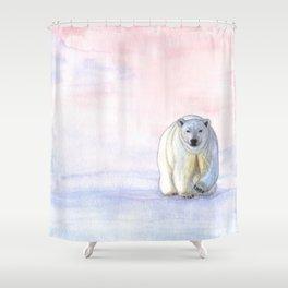 Polar bear in the icy dawn Shower Curtain