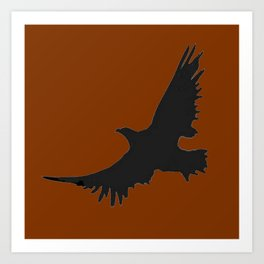 COFFEE BROWN FLYING BIRD SILHOUETTE Art Print
