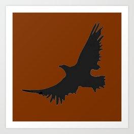 COFFEE BROWN FLYING BIRD SILHOUETTE Art Print