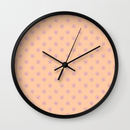 Lavender Violet on Deep Peach Orange Snowflakes Wall Clock