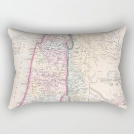Old 1864 Historic State of Palestine Map Rectangular Pillow