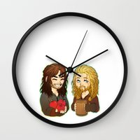 fili Wall Clocks featuring Fili and Kili 2 by angryorangecat