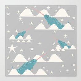 narwhal in ocean grey Canvas Print