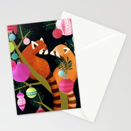 Red Pandas in Christmas Tree Stationery Cards
