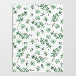 Pastel green watercolor modern orchid floral pattern Poster