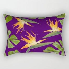 Monstera - and 3 Paradise Flowers Rectangular Pillow