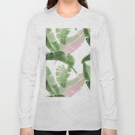 Tropical Leaves Green And Pink Long Sleeve T-shirt