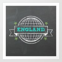 england Art Prints featuring England by My Little Thought Bubbles